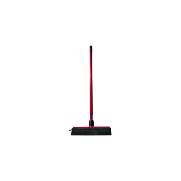 Gummibørste universal til gulv/måtte 30 x 5 cm. med teleskopskaft. Rød/sort