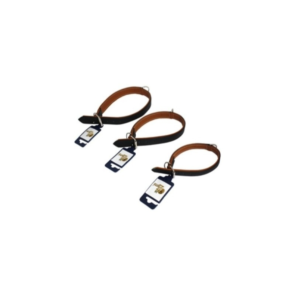 Halsbånd Læder, dobbeltsyet, blødt, 24 mm. x 40 cm.