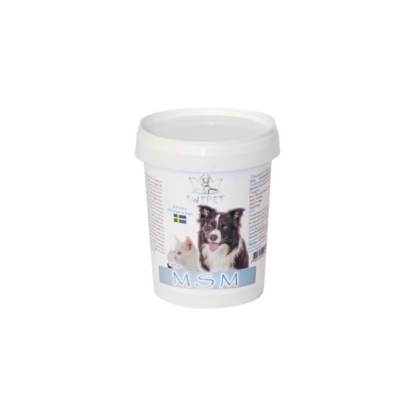 MSM 300 g. hjælper dyret med at genvinde balancen. Kan gives til hunde og katte, der træner hårdt, og udsat for stress dagligt.
