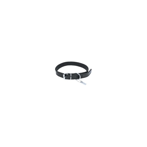 Halsbånd læder, sort. Til hund. 15 mm. x 40 cm.