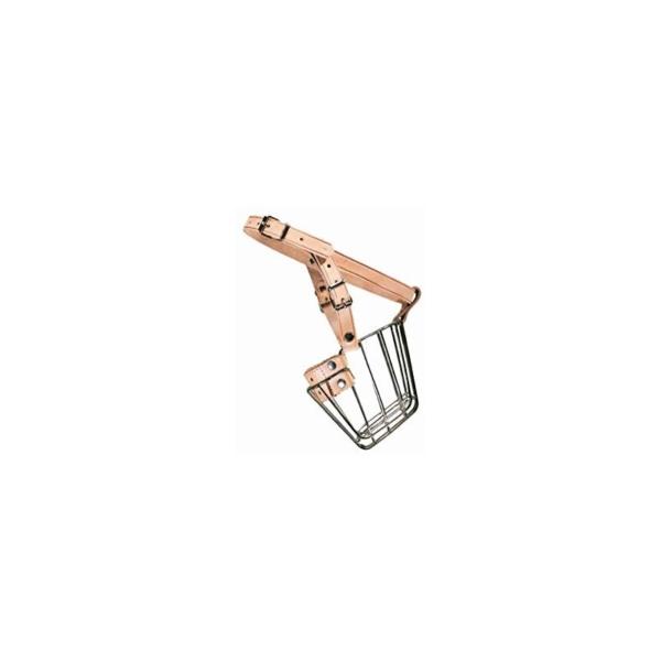Hunter Mundkurv, metal med læderstrop i natur str. 7 til schæfer m.m.