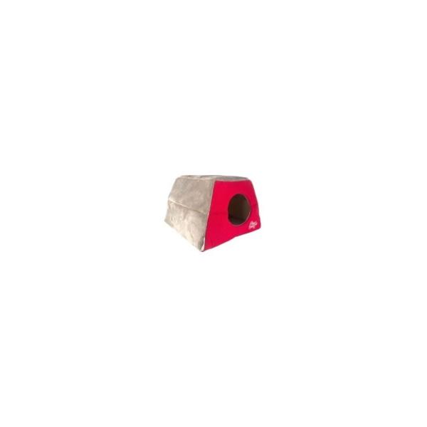 ROGZ Katte Igloo Rød. Kan anvendes på to måde, som hule og seng. 41x41x30 cm.
