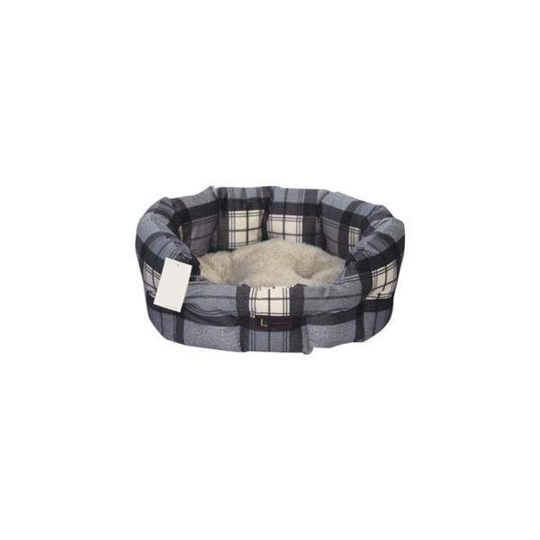 Hundeseng Oval, 50x40x20 cm. Grå/beige Ternet