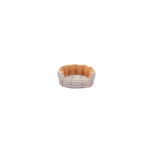 Hundeseng Oval, 50x40x20 cm. Hvid/Orange, Ternet