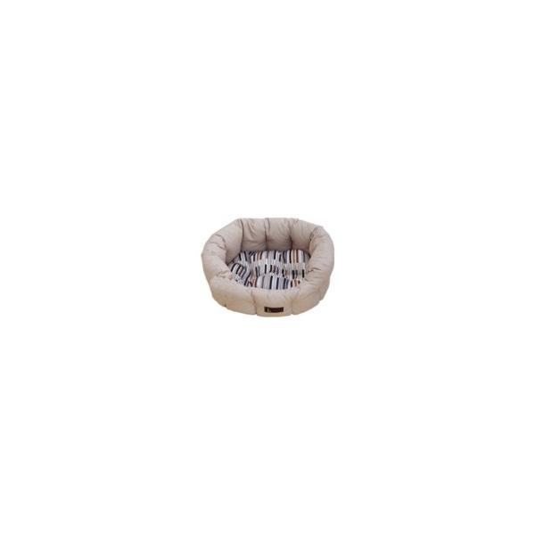 Hundeseng Oval 50x40x20 cm. Beige Mønstret Piano Pude