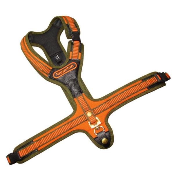 NIGGELOH Schweiss Sele Orange Model FOLLOW XL. Virkelig god hunde sele, håndsyet i Tyskland