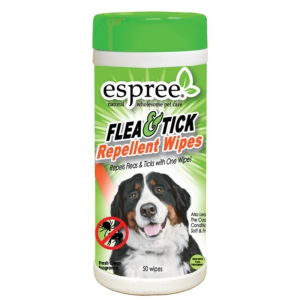 Espree Flea and Tick repellent Wipes x50. Indhold: 50 stk. wipes.