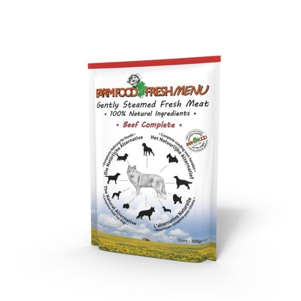 Farmfood fresh menu vådkost til alle hunde. Oksekød 300 g.