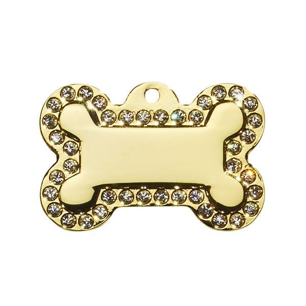 Guld hundeskilt med diamanter